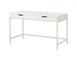 Table bureau 2 tiroirs blanc
