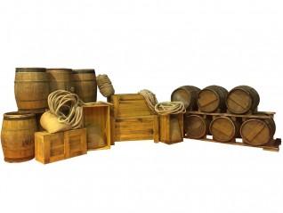 Cargaison: caisses, tonneaux, sac, cordage